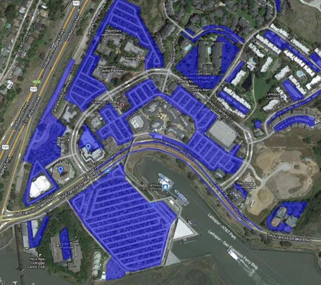 All the parking lots in Larkspur Landing. Image from Google Maps.