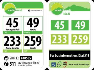 Proposed signage (left) and existing signage (right). From Marin Transit.
